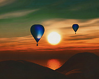 During sunset, two hot air balloons sail over the sea.<br /> Bring the atmosphere of the sea and the sense of freedom of travel into your home with a hot air balloon. This work is available in various sizes and materials. This painting easily brings the atmosphere of the sea to your home. This coastal scene can be printed in different sizes and on different materials. Both on canvas, wood, metal or framed so it certainly fits into your interior. –<br /> -<br /> BUY THIS PRINT AT<br /> <br /> FINE ART AMERICA / PIXELS<br /> ENGLISH<br /> https://janke.pixels.com/featured/hot-air-balloons-sail-over-the-sea-sunset-jan-keteleer.html<br /> <br /> <br /> WADM / OH MY PRINTS<br /> DUTCH / FRENCH / GERMAN<br /> https://www.werkaandemuur.nl/nl/shopwerk/Heteluchtballonnen-varen-over-de-zee-zonsondergang/778308/132?mediumId=15&size=70x55<br /> –<br /> -