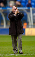 Photo: Jed Wee.<br />Tranmere Rovers v Bristol City. Coca Cola League 1. 22/04/2006.<br /><br />Bristol City manager Gary Johnson applauds the fans at the end of the match.