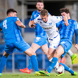 BRISBANE, AUSTRALIA - SEPTEMBER 20: Marcus Schroen of South Melbourne is tackled by Roman Hoffman and Martin Vazquez of Gold Coast City during the Westfield FFA Cup Quarter Final match between Gold Coast City and South Melbourne on September 20, 2017 in Brisbane, Australia. (Photo by Gold Coast City FC / Patrick Kearney)