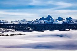Winter, undulating hills, Grand Tetons, Teton Valley, Idaho
