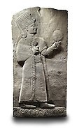 Picture & image of a Neo-Hittite orthostat showing a releif sculpture  of the Goddess Kubaba from Karkamis,, Turkey. Ancora Archaeological Museum. 1