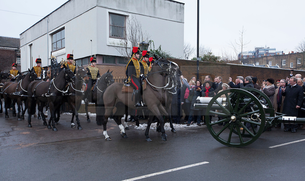 © Licensed to London News Pictures. 06/02/2012. LONDON, UK. Soldiers of the Kings Troop Royal Horse Artillery leave the unit's St John's Wood barracks today for the last time. Gunners of the Kings Troop, based at St John's Wood since 1947, today (06/02/12) left their barracks for the last time to fire their guns in Hyde Park, the soldiers will move tomorrow to their new home in Woolwich. Photo credit: Matt Cetti-Roberts/LNP