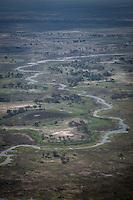 Aerial view of the Okavango Delta, Botswana.
