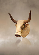 Minoan  bull's head rhython libation vessel, Machlos 1500-1450 BC; Heraklion Archaeological  Museum. .<br /> <br /> If you prefer to buy from our ALAMY PHOTO LIBRARY  Collection visit : https://www.alamy.com/portfolio/paul-williams-funkystock/minoan-art-artefacts.html . Type -   Heraklion   - into the LOWER SEARCH WITHIN GALLERY box. Refine search by adding background colour, place, museum etc<br /> <br /> Visit our MINOAN ART PHOTO COLLECTIONS for more photos to download  as wall art prints https://funkystock.photoshelter.com/gallery-collection/Ancient-Minoans-Art-Artefacts-Antiquities-Historic-Places-Pictures-Images-of/C0000ricT2SU_M9w