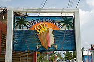 Sign at a stand selling conch, the local specialty, in Dunmore Town, Harbour Island, The Bahamas
