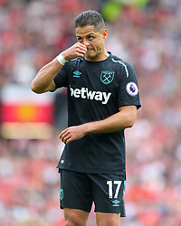 "West Ham United's Javier Hernandez during the Premier League match at Old Trafford, Manchester. PRESS ASSOCIATION Photo. Picture date: Sunday August 13, 2017. See PA story SOCCER Man Utd. Photo credit should read: Richard Sellers/PA Wire. RESTRICTIONS: EDITORIAL USE ONLY No use with unauthorised audio, video, data, fixture lists, club/league logos or ""live"" services. Online in-match use limited to 75 images, no video emulation. No use in betting, games or single club/league/player publications."