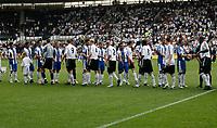 Photo: Steve Bond.<br />Derby County v RCD Espanyol. Pre Season Friendly. 04/08/2007.  Derby County and Espanyol players shake hands before kick off