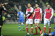 Peter Odemwingie (Rotherham United) speaks to the referee indicating that the collision with Liam Cooper (Leeds United) was accidental. The referee issues a straight red card and sends him off during the EFL Sky Bet Championship match between Rotherham United and Leeds United at the New York Stadium, Rotherham, England on 26 November 2016. Photo by Mark P Doherty.