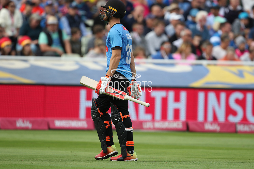 Sussex's Laurie Evans out during the Vitality T20 Finals Day semi final 2018 match between Sussex Sharks and Somerset at Edgbaston, Birmingham, United Kingdom on 15 September 2018.