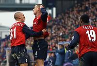 Fotball<br /> FA-cup England<br /> 3. runde<br /> 03.01.2004<br /> Foto: Digitalsport<br /> Norway Only<br /> <br /> Bolton v Tranmere<br /> <br /> KEVIN NOLAN CELEBRATES SCORING EQUALISER FOR BOLOTN WITH TEAMMATE CHARLIE COMYN PLATT