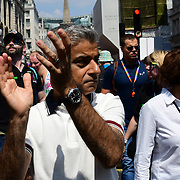 London, England, UK. 7th July 2018. Sadiq Khan join the Colourful costumes at the Pride parade in London on 7th July 2018