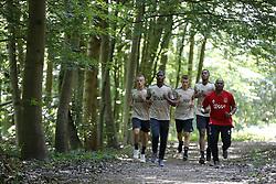 Noa Lang of Ajax, Daley Sinkgraven of Ajax, Ryan Gravenberch of Ajax, Luis Orejuela of Ajax, Aron Winter of Ajax during a training session of Ajax Amsterdam in Marienfeld on June 27, 2018 in Marienfeld, Germany