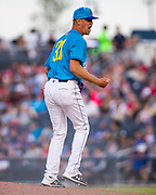 Amarillo Sod Poodles pitcher Michel Baez (31) reacts after striking out the last batter of the ninth inning against the Tulsa Drillers on Sunday, June 16, 2019, at HODGETOWN in Amarillo, Texas. [Photo by John Moore/Amarillo Sod Poodles]