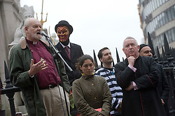 © London News Pictures. 30/10/2011. London, UK. The Bishop of London Dr Richard Chartres (Left) and The Dean of St Paul's Graeme Knowles (right) talk to the Occupy London group outside of St Paul's Cathedral in London today (30/10/2011) as part of a questions and answers session.  Photo credit: Ben Cawthra