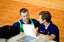 Bostjan Brulec and Primoz Pori at practice of Slovenian Handball Women National Team, on June 3, 2009, in Arena Kodeljevo, Ljubljana, Slovenia. (Photo by Vid Ponikvar / Sportida)
