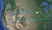 Route map from Seattle to Colorado, St Louis (Missouri), Indianapolis (Indiana), South Dakota, Wyoming, and back. 27 days from Sept 21 - Oct 17, 2017.