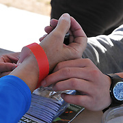 Gran FUNdo riders got wristbands whenever they visited designated stops along the route.