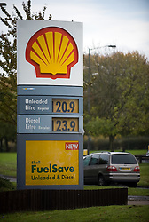 © under license to London News pictures. 28/10/2010.Profits at Royal Dutch Shell rose seven percent to 2.195 billion pounds in the third quarter, compared with the same period one year ago it was announced today (Thurs). Pictured today (Thurs) is a shell garage in New Addlington, Croydon, Greater London.