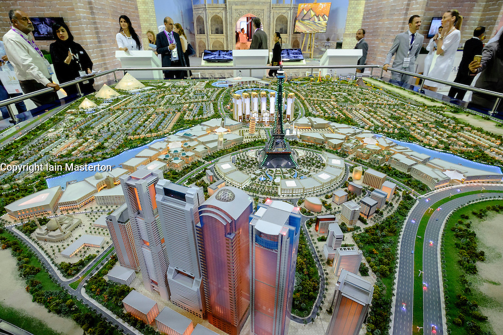 Model of new luxury property development at Falconcity of Wonders  at property trade fair in Dubai United Arab Emirates
