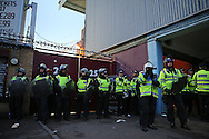 a Police line is seen outside the Boleyn Ground during the 1st half of match. scenes around the Boleyn Ground, Upton Park in East London as West Ham United play their last ever game at the famous ground before their move to the Olympic Stadium next season. Barclays Premier league match, West Ham Utd v Man Utd at the Boleyn Ground in London on Tuesday 10th May 2016.<br /> pic by John Patrick Fletcher, Andrew Orchard sports photography.