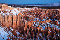 Towering hoodoos seen from Bryce Point just before sunrise in Bryce Canyon National Park during Winter.