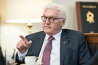 02 JUL 2018, BERLIN/GERMANY:<br /> Frank-Walter Steinmeier, Bundespraesident, waehrend einem Interview, Amtszimmer des Bundespraesidenten, Schloss Bellevue<br /> IMAGE: 20180702-01-044<br /> KEYWORDS: Bundespräsident