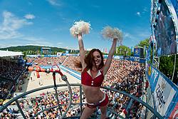 Cheerleader Eskimo girl Katrin Ambrosi, Milleniumdancers, at A1 Beach Volleyball Grand Slam tournament of Swatch FIVB World Tour 2011, on August 6, 2011 in Klagenfurt, Austria. (Photo by Matic Klansek Velej / Sportida)