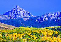 14,150 ft. Mount Sneffels and the Sneffeles Range of the San Juan Mountains.  Autumn season, Colorado.