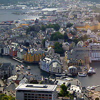 Europe, Norway, Alesund. Alesund Inner Harbor, view from Mt. Aksla.