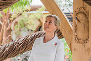 HRH the Countess of Wessex,  patron of the charity, on Blind Veterans UK: its all about Community Garden by Andrew Fisher Tomlin and Dan Bowyer - The Hampton Court Flower Show, organised by the Royal Horticultural Society (RHS). In the grounds of the Hampton Court Palace, London.