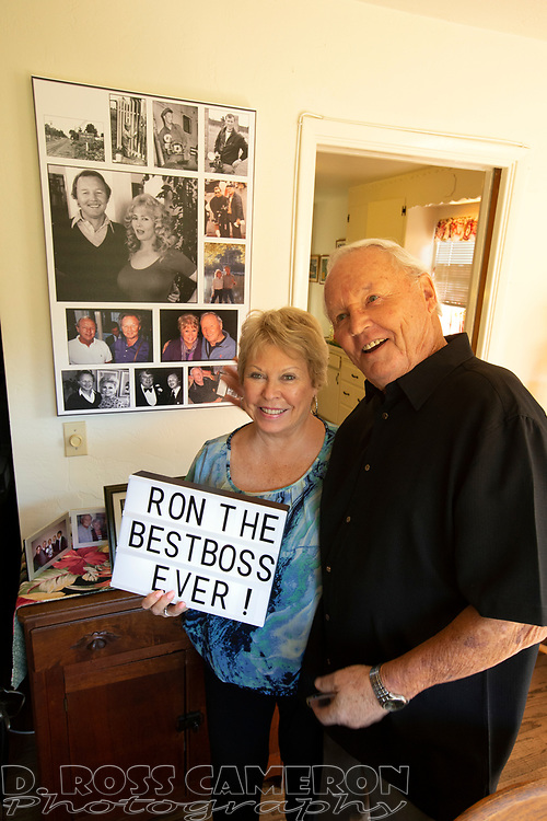 Long-time Oakland Tribune photographer Ron Riesterer, right, and wife Jan pose for a photograph at a party celebrating his 80th birthday, Sunday, Oct. 21, 2018 in Oakland, Calif. (Photo by D. Ross Cameron)