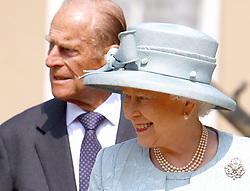 Queen Elizabeth II and the Duke of Edinburgh leave the Easter Matins Service at St George's Chapel, Windsor Castle.