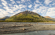 Morning light on Resurrection River and Mount Benson in Southcentral Alaska. Autumn.