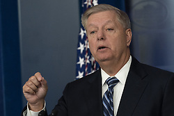 27 October 2019- Washington DC- United States Senator Lindsey Graham (Republican of South Carolina) speaks to reporters at the White House after United States President Donald J. Trump made a statement on the death of ISIS leader Abu Bakr al-Baghdadi during a U.S. military raid in Syria. Photo Credit: Chris Kleponis/Pool/ABACAPRESS.COM