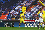 Chris Wood of Leeds united jumps to celebrate after scoring his teams 2nd goal. Skybet football league Championship match, Huddersfield Town v Leeds United at the John Smith's Stadium in Huddersfield, Yorks on Saturday 7th November 2015.<br /> pic by Chris Stading, Andrew Orchard sports photography.