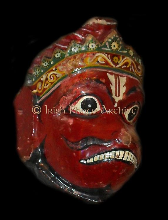 Wooden dance mask depicting the Hindu monkey god, Hanuman. 20th Century, Orissa in India.
