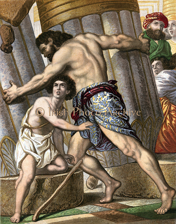 Samson pulling down the Temple of Dagon, god of the Philistines. Bible: Judges XVI. Mid-19th century chromolithograph