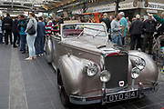 Alvis vintage car on show at a monthly meet up in Greenwich Market in London, England, United Kingdom.