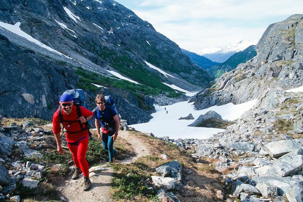 Alaska, Skagway. Chilkoot Trail hikers.