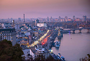 Ukraine, Kyiv, Podil Neighborhood, Right Bank Of The Dnieper River, Elevated View Of City From Saint Volodymyr Hill