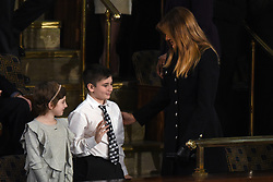 First Lady Melania Trump greets Joshua Trump, a Delaware boy bullied for his last name during State of the Union address on Capitol Hill February 5, 2019 in Washington, DC. DC.Photo by Olivier Douliery/ABACAPRESS.COM