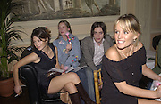 Kate Weinberg, Eva Rice,Pete Hobbs and Davina Taylor. Celebrity Bingo at launch of  www.archers.com. Home House. 16 May 2002. © Copyright Photograph by Dafydd Jones 66 Stockwell Park Rd. London SW9 0DA Tel 020 7733 0108 www.dafjones.com