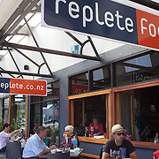 People eating and drinking at Replete Cafe,  Heu Heu Street, Taupo,  New Zealand,, 8th January 2010. Photo Tim Clayton.