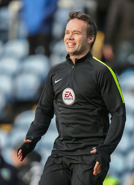 Referee Mark Tierney warms up before the match<br /> <br /> Photographer Alex Dodd/CameraSport<br /> <br /> The Premier League - Burnley v Southampton - Saturday 14th January 2017 - Turf Moor - Burnley<br /> <br /> World Copyright © 2017 CameraSport. All rights reserved. 43 Linden Ave. Countesthorpe. Leicester. England. LE8 5PG - Tel: +44 (0) 116 277 4147 - admin@camerasport.com - www.camerasport.com