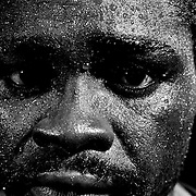 A portrait of three times World Champion boxer Azumah Nelson, of Ghana, while training before a fight in Sydney, Australia.
