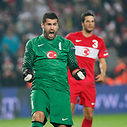 Turkey's goalkeeper Volkan DEMIREL celebrate victory during their UEFA EURO 2012 Qualifying round Group A soccer match Turkey betwen Austria at Sukru Saracoglu stadium in Istanbul March 29, 2011. Photo by TURKPIX