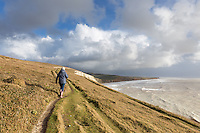 West Wight coastal walk along the cliffs overlooking Compton Bay