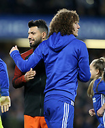 Chelsea's David Luiz with Manchester City's Sergio Aguero during the Premier League match at the Stamford Bridge Stadium, London. Picture date: April 5th, 2017. Pic credit should read: David Klein/Sportimage