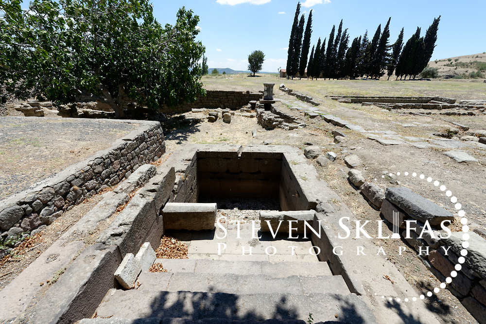 Roman era sacred fountain where patients bathed and drank water in the Asklepieion sacred area. Pergamum, Bergama, Turkey.