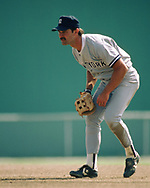 SARASOTA, FL - 1986:  Don Mattingly of the New York Yankees field during a major league baseball spring training game at Payne Park in Sarasota, Florida prior to the 1986 season.  (Photo by Ron Vesely) Subject:   Don Mattingly